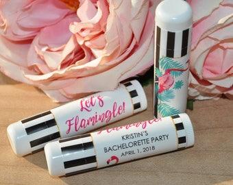Bridal Shower Lip Balm Favor Labels, Wedding Lip Balm Labels, Bachelorette Party, Engagement Favor, Let's Flamingle - Set of 24 Labels