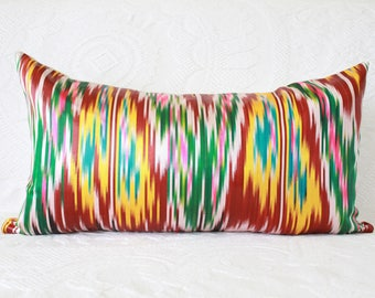 12x22 - Silk Ikat Pillow Cover - M o d e r n  B o h o Uzbek silk pillow