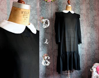 Sz M to L Black Vintage 60s Retro Mod Peter Pan Collar Sheer Dress