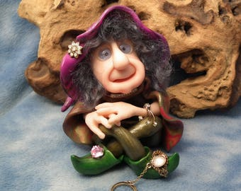 "Soothsayer Crone 'Astryd' 5"" Wise Woman seated cross-legged OOAK Art Doll Sculpt by Sculpture Artist Ann Galvin Fairy"