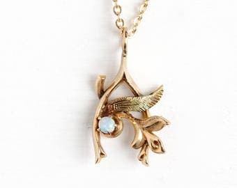 Antique 10k Rosy Yellow Gold Wishbone Opal Pendant Necklace - Vintage 1900s Art Nouveau Edwardian Fine Conversion Flower Leaf Jewelry