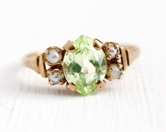 Created Spinel Ring - 10k Rosy Yellow Gold Synthetic Light Green Stone & Seed Pearls - Retro Size 6 1/2 Marquise Cut Statement Fine Jewelry