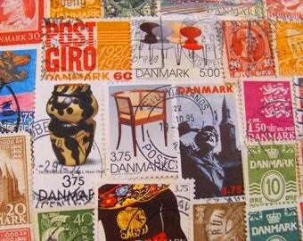 Danish Modern Delights 50 Vintage Danish Postage Stamps Denmark Danmark Copenhagen Danes Scandinavian Scandinavia Mail Worldwide Philately