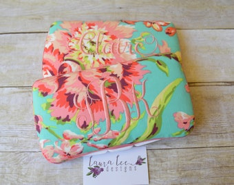 Large Lotus Flowers in Pink Coral on Aqua Travel Baby Wipe Case,  Love Bliss Floral Diaper Wipecase, Personalized Baby Shower Gift, Clutch