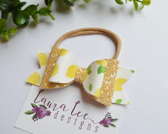 READY TO SHIP, Lemon Faux Leather and Yellow Glitter Stacked Bow on Nylon Headband or Clip, Newborn, Sparkle Bow, Toddler, First Birthday