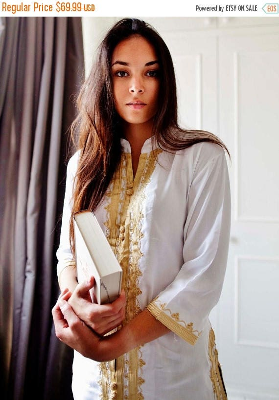 20% OFF Winter Sale// White & Gold Embroidery Tunic, perfect for birthday gifts, honeymoon gifts, bridesmaid, bride, resort wear, beach, boh