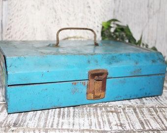 Vintage Blue Metal Tool Box, Vintage Industrial Decor, Rustic Storage, Metal Storage Box, Boho Decor, Metal Tool Chest