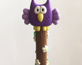 Polymer Clay Puple Owl Pen