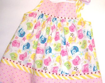 Little Girl's Sundress/Toddler Girl's Dress with Pink, Yellow, Green and Blue Birds on White with Pink Polka Dot Yoke