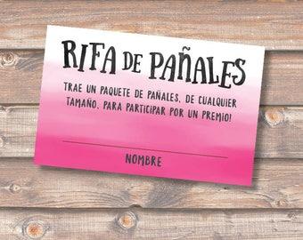 Diaper Raffle Spanish Rosado Fucsia Rifa de Pañales Tarjetas Baby Shower Niña Hot Pink Ombre Sorteo Boletas Rifa Pañales - INSTANT DOWNLOAD