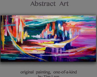 """Original Art painting huge Impasto Texture modern oil painting  Abstract Painting on gallery wrap linen canvas by Tim Lam 48""""  x 24"""""""