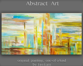 """Huge original Oil painting Modern deco Impasto Texture Abstract Painting by Tim Lam 48"""" x 24"""""""
