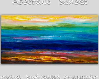"""Surreal wall art Abstract landscape painting oil painting 48"""" canvas art wall hanging modern unique modern art Passion of Sunset by tim lam"""