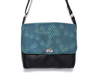 Vegan messenger bag, blue geometric bag, small vegan bag, black purse, Japanese fabric, cross body bag, Geo Raindrop Blue