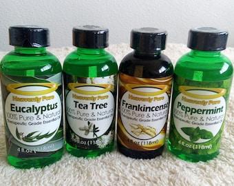 Set of Eucalyptus, Tea Tree, Frankincense, Peppermint Essential Oils 4 oz each