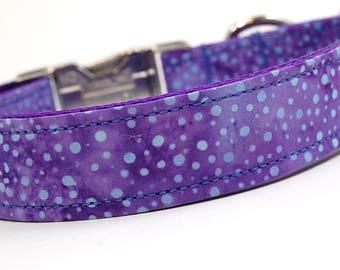 Handmade Dog Collar - Purple and Blue Dots Batik - Custom Made Polka Dot Dog Collar - Collar with Dots