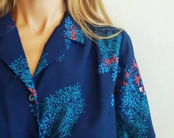 Vintage floral shirt dress 1970