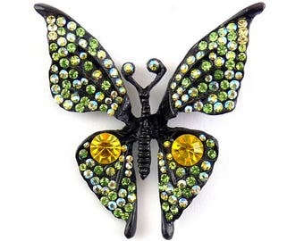 1960's TARA Japanned Butterfly with Vivid Yellow-Green AB Rhinestones