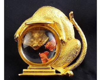 JJ Cat with Head in Goldfish Fish Bowl Pin - Enameled Fish, Globe Bowl