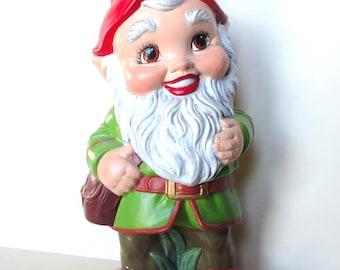 Large Vintage Garden Gnome Statue  Hand Painted Lawn Ornament Garden Decor