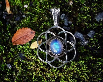 Moonstone Seed of Life Pendant