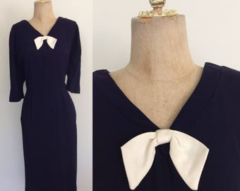 1950's Navy Blue Crepe Rayon Dress