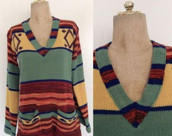 30% OFF 1970's Acrylic Space Dyed Striped Pullover Sweater Size Medium Large by Maeberry Vintage