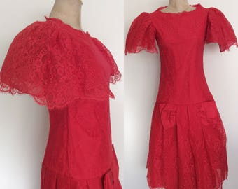 1980's Red Lace Avant Garde Dress by Saks Fifth Ave Size Small by Maeberry Vintage