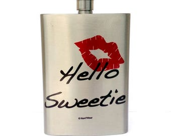 Doctor River Song Who Geek Flask 8oz: Hello Sweetie