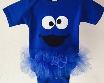 SALE*** Cookie Monster Inspired Tutu Bodysuit Blue Sesame Street Monster Toddler Baby Girl Birthday Size 12-18 Months