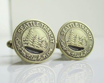 SEATTLE Transit Token Cuff Links - Repurposed Vintage Brass / Gold Coins