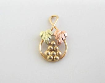 Black hills etsy 10k solid gold pendant charm tiny vintage black hills gold leaf design aloadofball Gallery