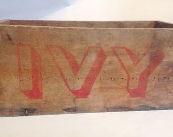 vintage wood box IVY printed in red on side - no bottom