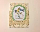 Green Mason Jar Bouquet Handmade Greeting Card