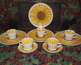 Vintage Set of Dishes Designed by Vera Neumann ... For Island Worcester in the Sunflower Pattern ... Hand Painted ... 1960's