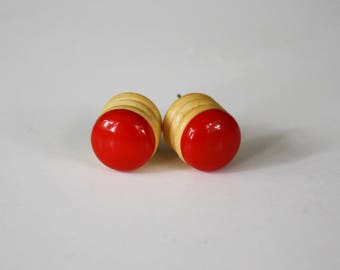 Cherry Red Button Earrings