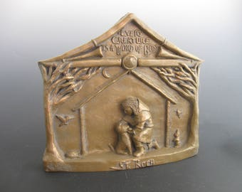 St. Roch, Patron of Dogs and Dog-Lovers: Handmade Statue / Plaque (Large Size)