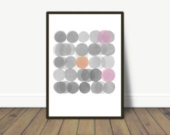 Gray Pink Circles, watercolor print, Minimalist Watercolor Painting, Abstract Modern Home Decor, Abstract Wall Art