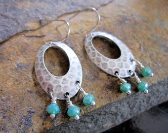 Silver Hoop Earrings, Hammered Silver, Turquoise Opaque Crystals, Bohemian, Modern, Oval Earrings, Everyday Earrings