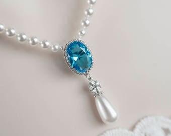 Blue Zircon Bridal Necklace Necklace, Bridal Pearl and Blue Zircon CZ Drop Necklace, Blue Zircon, Turquoise Necklace, Wedding Bridal Jewelry