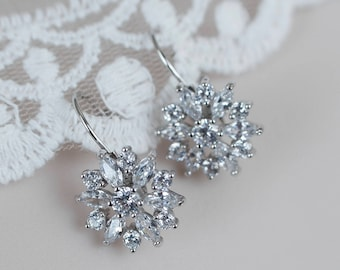Silver/Rhodium Plated Cubic Zirconia Flower Bridal Earrings, Cubic Zirconia Flower Earrings, Bridal Flower Earrings, Floral Bridal Jewelry