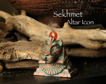 Sekhmet Altar Icon Statue - Carnelian Solar Disc - Anthropomorphic Lioness Bust - She Who is Powerful - Handcrafted - Copper Patina Finish