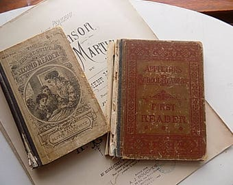 Antique Books - School Book - Second and First Reader - Childrens