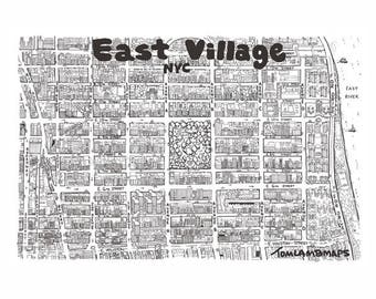 East Village New York City Hand drawn map print cartography map art