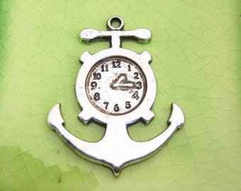 10 silver anchor clock charms pendants Alice in Wonderland Peter Pan Captain Hook pirate ship pocket watch hands time 38mm x 30mm - C0752-10
