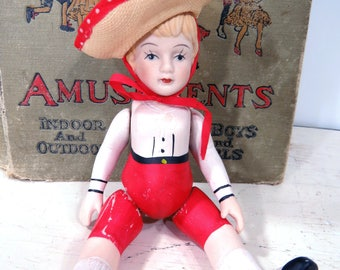 Large Vintage Bisque Doll Straw Hat & Red Pants Jointed Articulated Germany