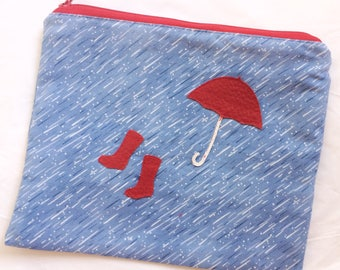 Umbrella and Boots, Rainy Day Lover Zip Bag