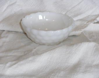 Vintage White Bubble Glass Sauce Dish