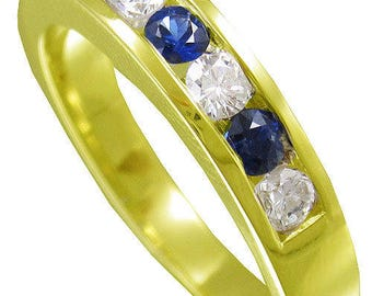 14k yellow gold round cut diamond and sapphire men's band channel set Wedding, Bridal, Anniversary, Prong, Natural Diamonds and sapp 1.00ctw