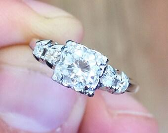 14k White Gold Round Cut Diamond Engagement Ring Art Deco Antique Style Wedding, Bridal, Anniversary, Prong, Natural Diamonds 0.52ctw